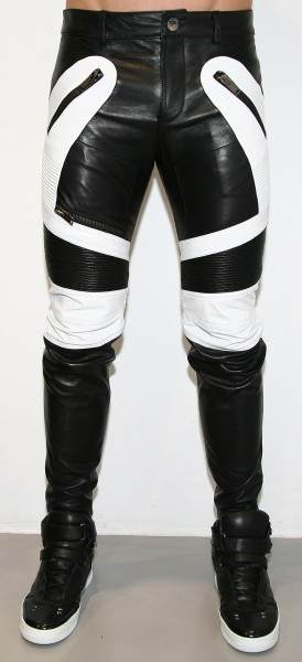 Les Hommes Leather Biker Pants