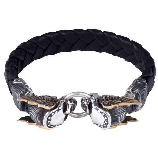 King Baby Leather Bracelet with Mercury Skull Alloy Wings