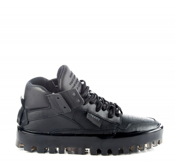 RBRSL Rubber Soul BOLD black leather trainers