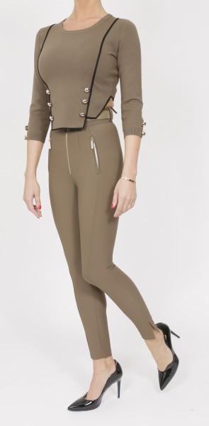 Elisabetta Franchi High Waist Military Pants