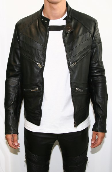 Les Hommes Leather Biker Jacket