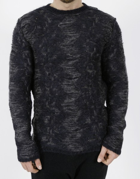 Isabel Benenato Knit Floating Threads Pullover Ash/Black