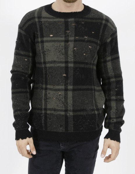 Overcome Tartan Destroyed Pullover Military