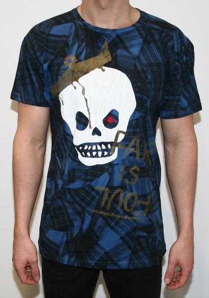 Vivienne Westwood Man Blue King Skull Tartan T-Shirt