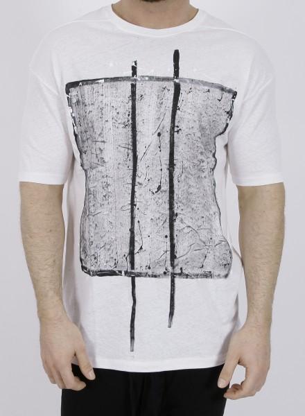 Thom Krom Linen Print T-Shirt Off White