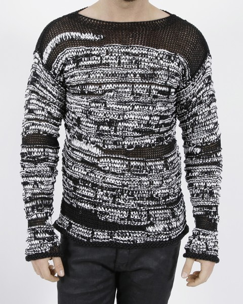 Isabel Benenato Crew-Neck Pullover Black/White